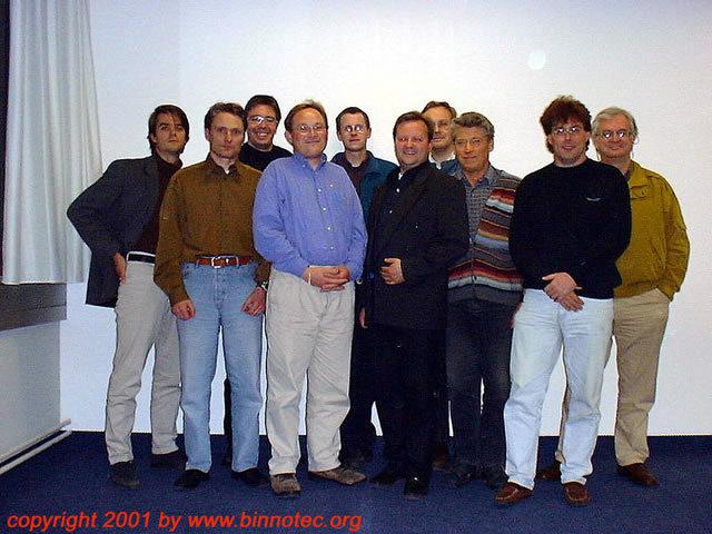 Mitglieder des BINNOTEC e.V. von links nach rechts: Dominik Heilbronner, Andre Finger, Ralf Müting, Thorsten Ludwig, Kai Schaeffer, Andreas Manthey, Wolf-Dietrich Bauer, Helmut Quirschfeld, Stefan Hartmann, Marco Bischof